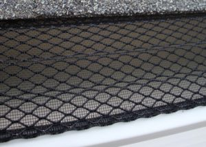 A close-up image of a gutter screen system.