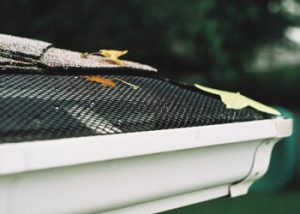 The Mini Hole gutter screen systems catches leaves so they don't clog gutters.
